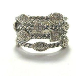 David Yurman 925 SS 4 Row Confetti Diamond Ring